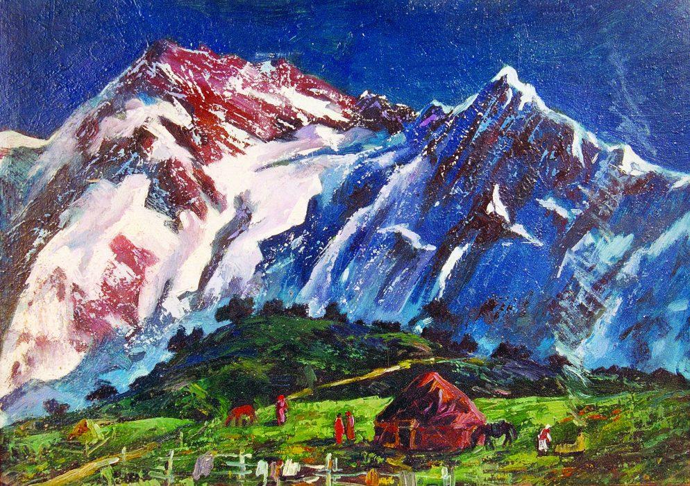 Вид юрты на фоне горы. 2000